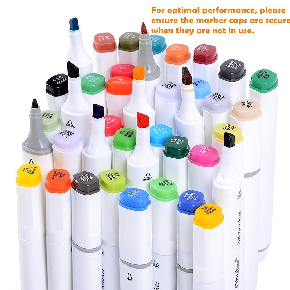 Ohuhu 80 Colors Dual Tips Permanent Marker Pens Art Markers Highlighters with Ca