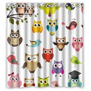 HelloDecor Owls Shower Curtain Polyester Fabric Bathroom Decorative Size 66x72 Inches