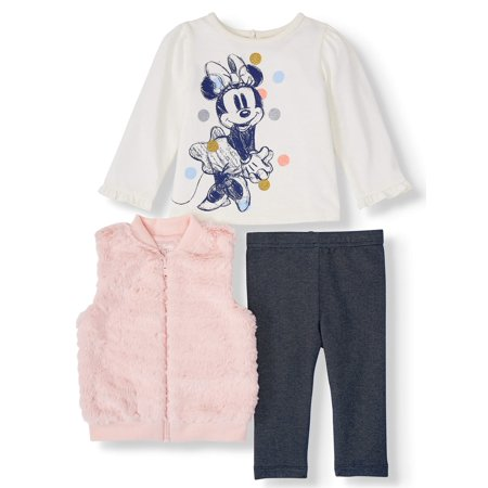 Disney Minnie Mouse Baby Girl Fur Vest, Jersey Top, and Legging, 3pc Outfit Set (Jersey Outlets)