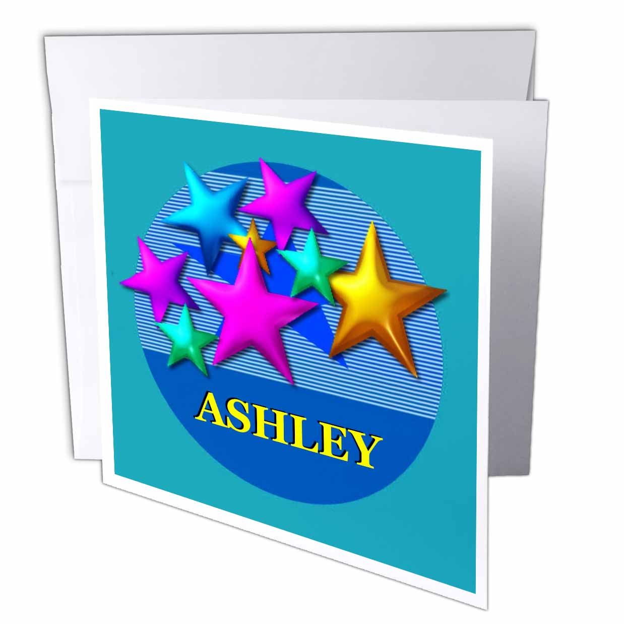 3dRose Vibrant colored stars on a blue background personalized with the name ASHLEY, Greeting Cards, 6 x 6 inches, set of 12