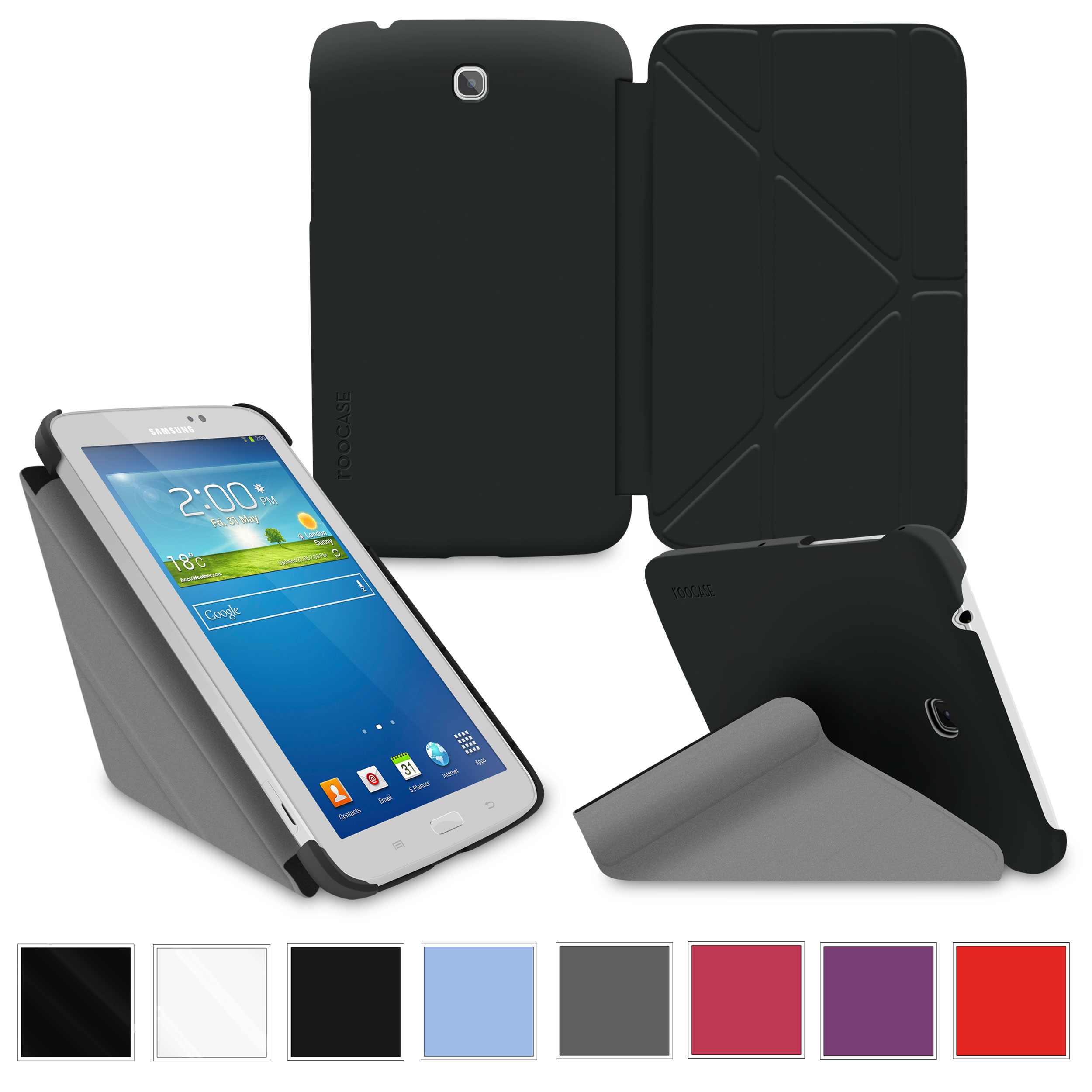 "rooCASE Samsung Galaxy Tab 3 7.0 Case - Slim Shell Origami Stand Tablet 7-Inch 7"" Cover with ..."