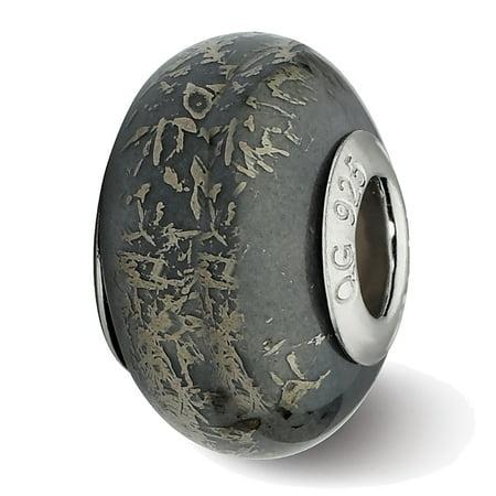 Lex & Lu Sterling Silver Reflections Grey w/Platinum Foil Ceramic -
