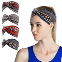 4PCS Boho Headbands for Women Cotton Sports Hair Band Vintage Cross Elastic Head Wrap Twisted Hair Accessories