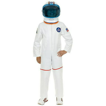 Kid's White Astronaut Girls NASA Boys Costume And Helmet Bundle