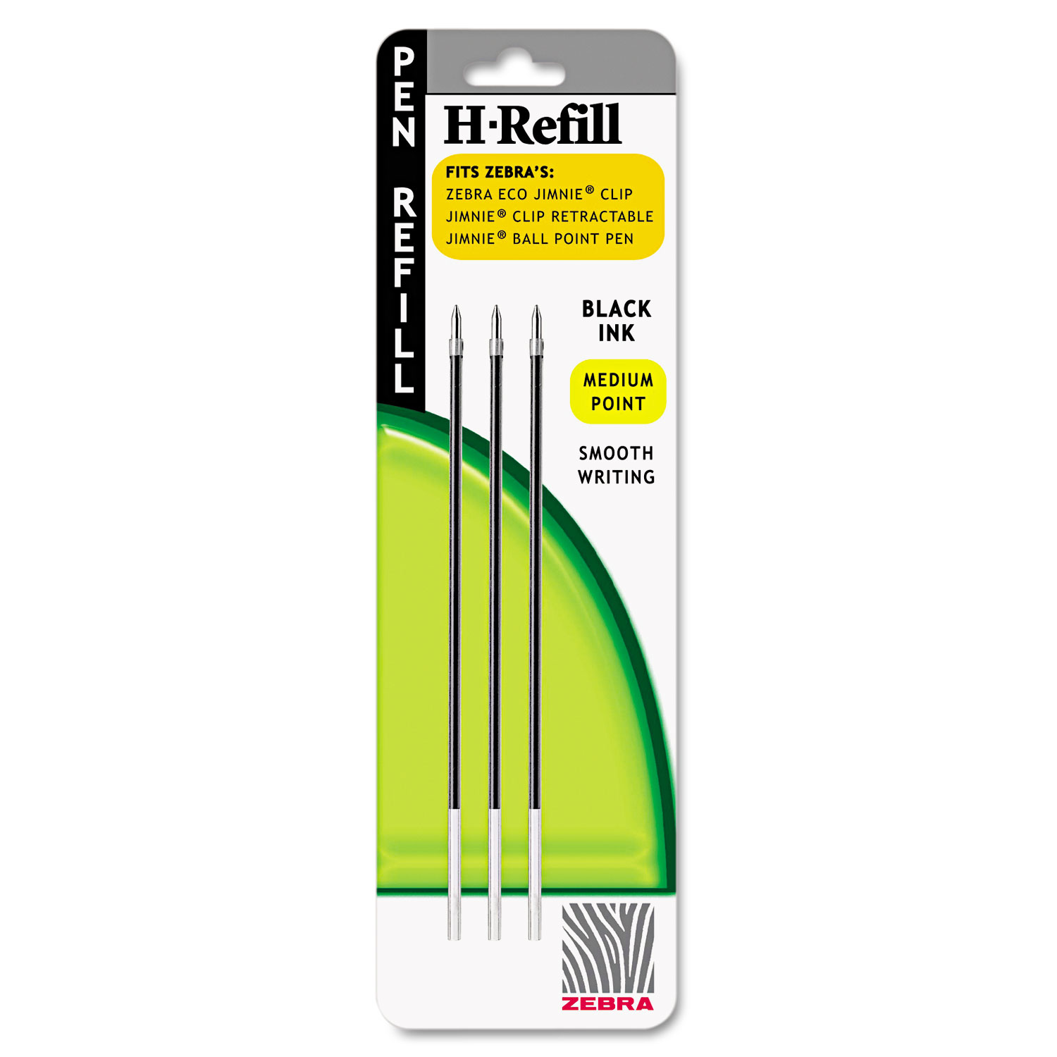 H-Refills for Jimnie Clip Retractable Ballpoint, Medium, Black, 3/Pack