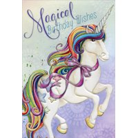 Pictura Magical Wishes Unicorn Nicole Tamarin Juvenile Birthday Card for Girls
