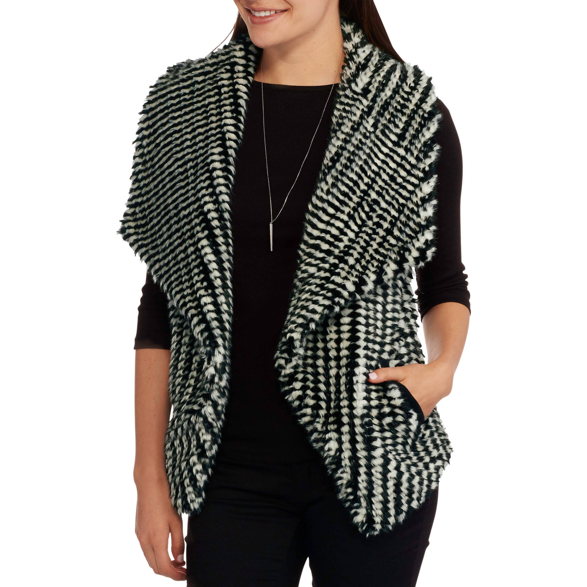 Maxwell Studio Women's Textured Faux Fur Vest