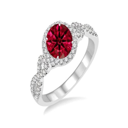 Elegant 1.50 Carat Round Ruby and Diamond Engagement Ring in 14k White Gold affordable ruby & diamond engagement