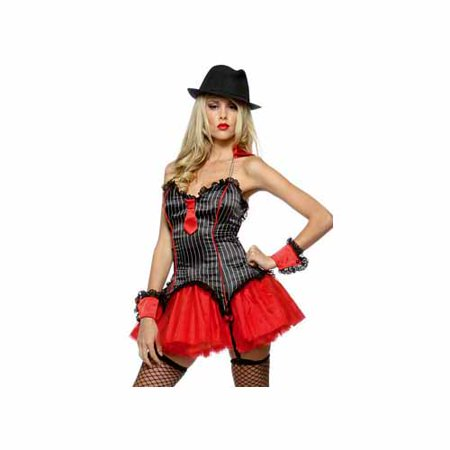 Lip Service Mob Star Costume 49-285 Black/Red - Mob Woman Costume