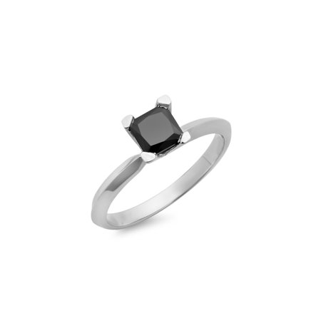 10k Gold Diamond Solitaire Ring - 10K White Gold Princess Cut Black Diamond Ladies Solitaire Bridal Engagement Ring