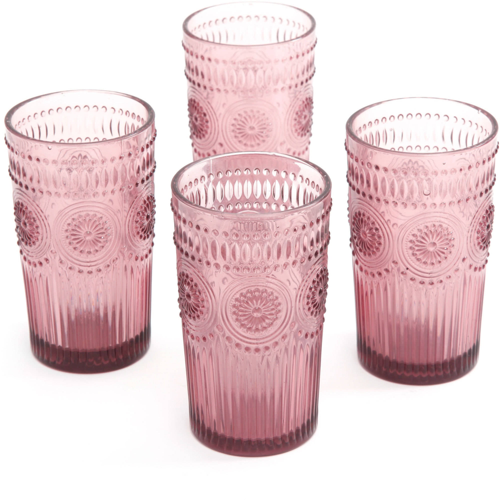 Pioneer Woman Adeline Plum Set Of 4 Drinking Glasses