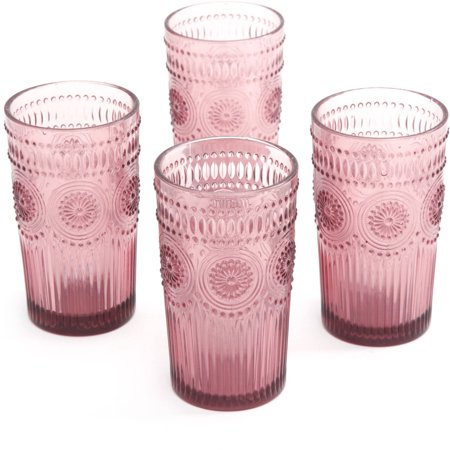 the pioneer woman adeline 16 ounce emboss glass tumblers set of 4 home garde. Black Bedroom Furniture Sets. Home Design Ideas