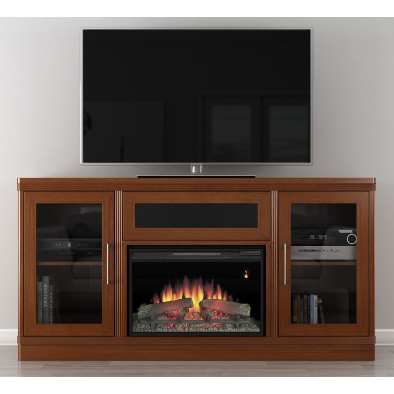 Furnitech 70 in. Transitional TV Console with 25 in. Electric Fireplace - Light Cherry