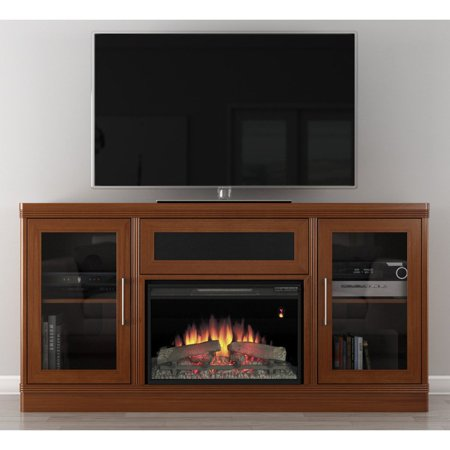 Furnitech 70 In Transitional Tv Console With 25 In Electric Fireplace
