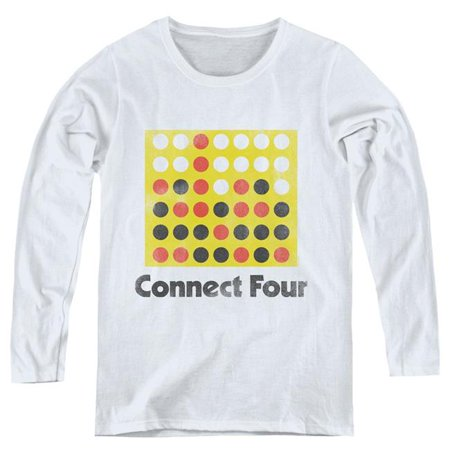 Trevco Sportswear HBRO305-WL-3 Womens Connect Four & Classic Logo Distressed-Long Sleeve T-Shirt, White - Large - image 1 of 1