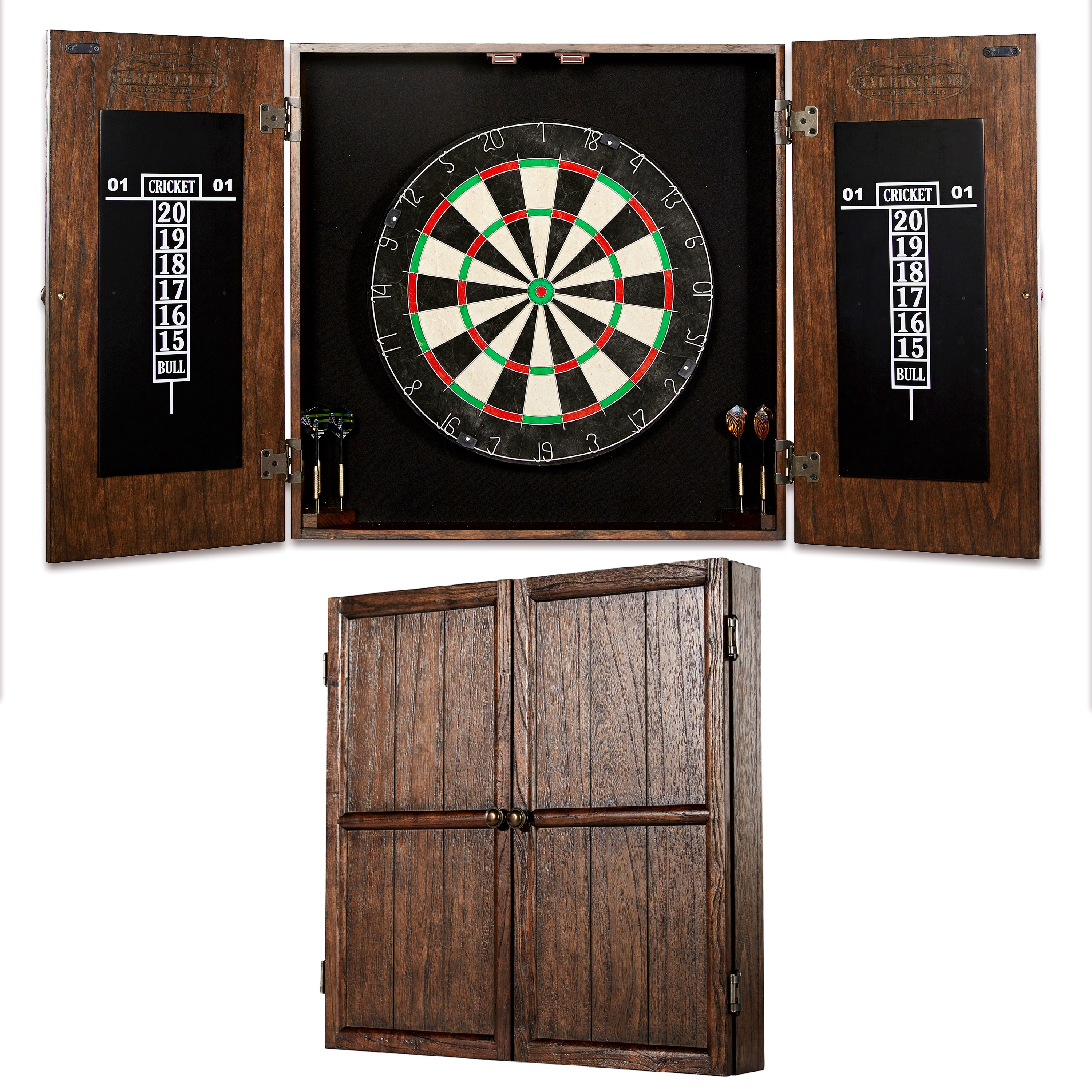 Barrington Webster Bristle Dartboard and Solid Wood Cabinet Set, Includes 6 steel tip darts with America and British flag style flights, Brown/Black