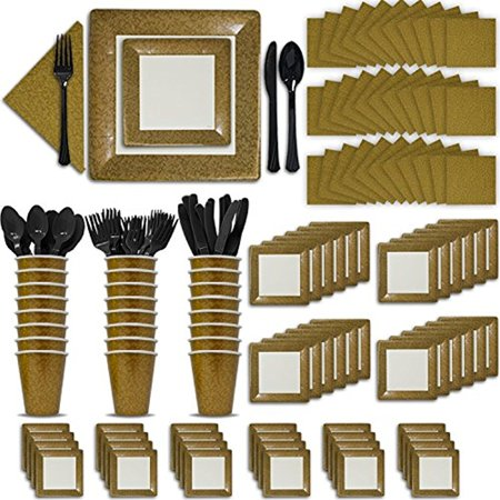 24 Guest Gold Party Set. Fancy Supplies. 2 Size Square Plates, Cups, Napkins, Spoons, Forks, Knives