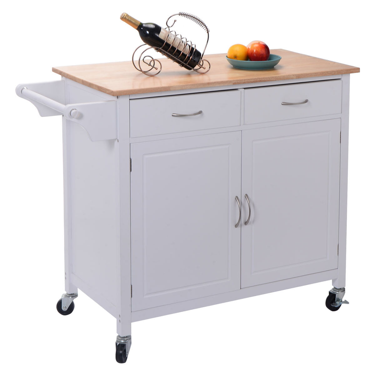Costway Rolling Kitchen Cart Island Wood Top Storage Trolley Cabinet Utility Modern by Costway