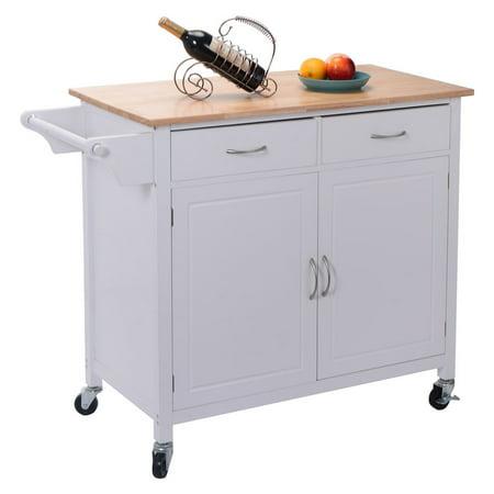 Costway Rolling Kitchen Cart Island Wood Top Storage Trolley Cabinet ...