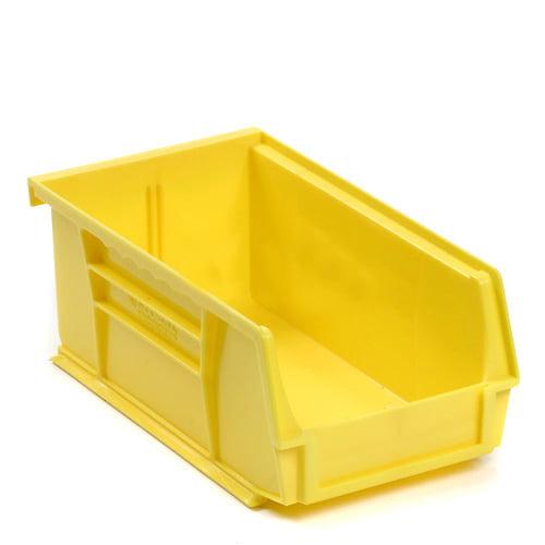 Plastic Storage Bin - Parts Storage Bin - 4-1/8 x 7-3/8 x 3, Yellow, Lot of 24