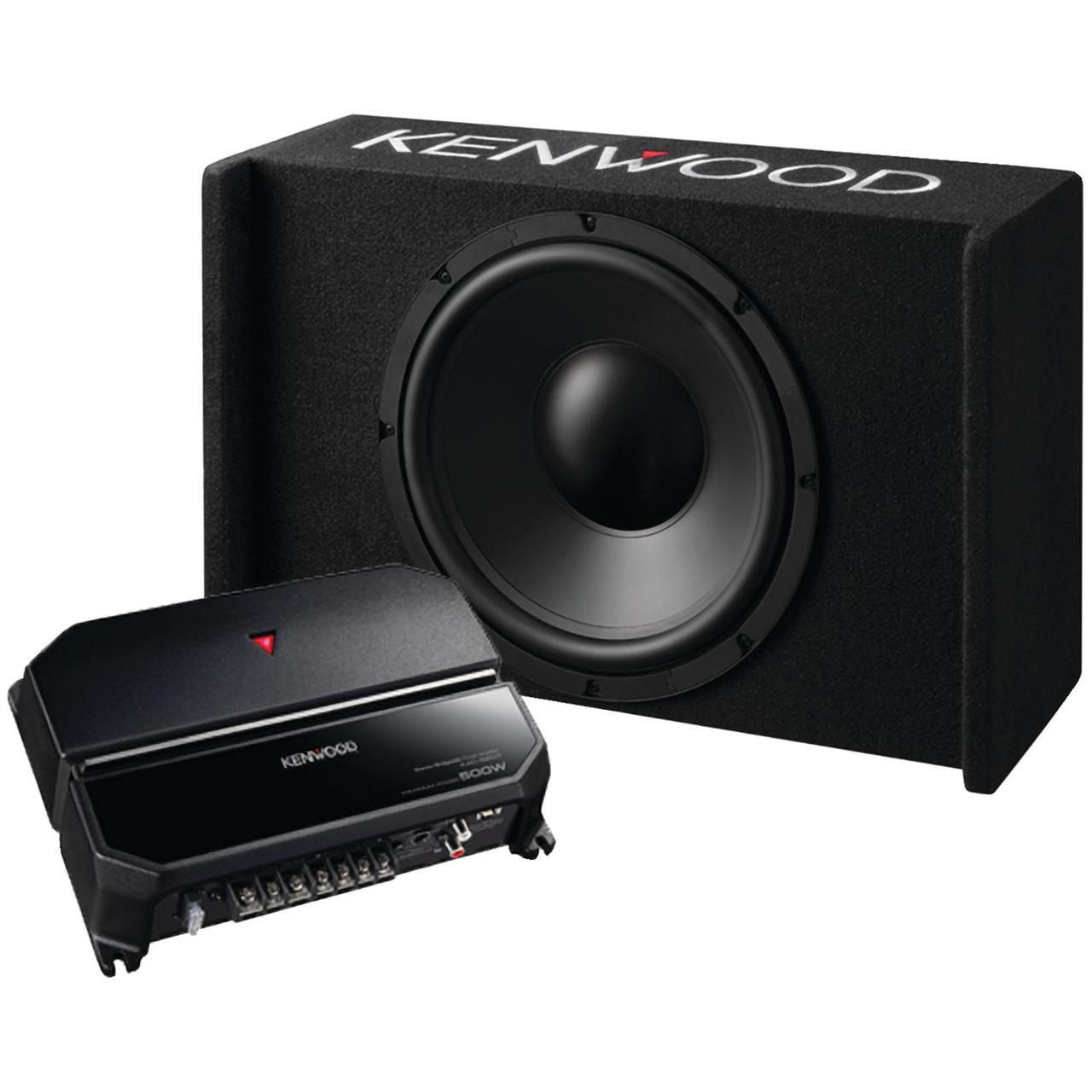 """KENWOOD P-W121B 12"""" Sealed Bass Package with Subwoofer, Amp & Enclosure"""