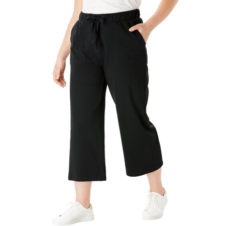 Roaman's Plus Size Wide-leg Crop French Terry Pant With Drawstring Waist French Terry Crop Lounge Pant