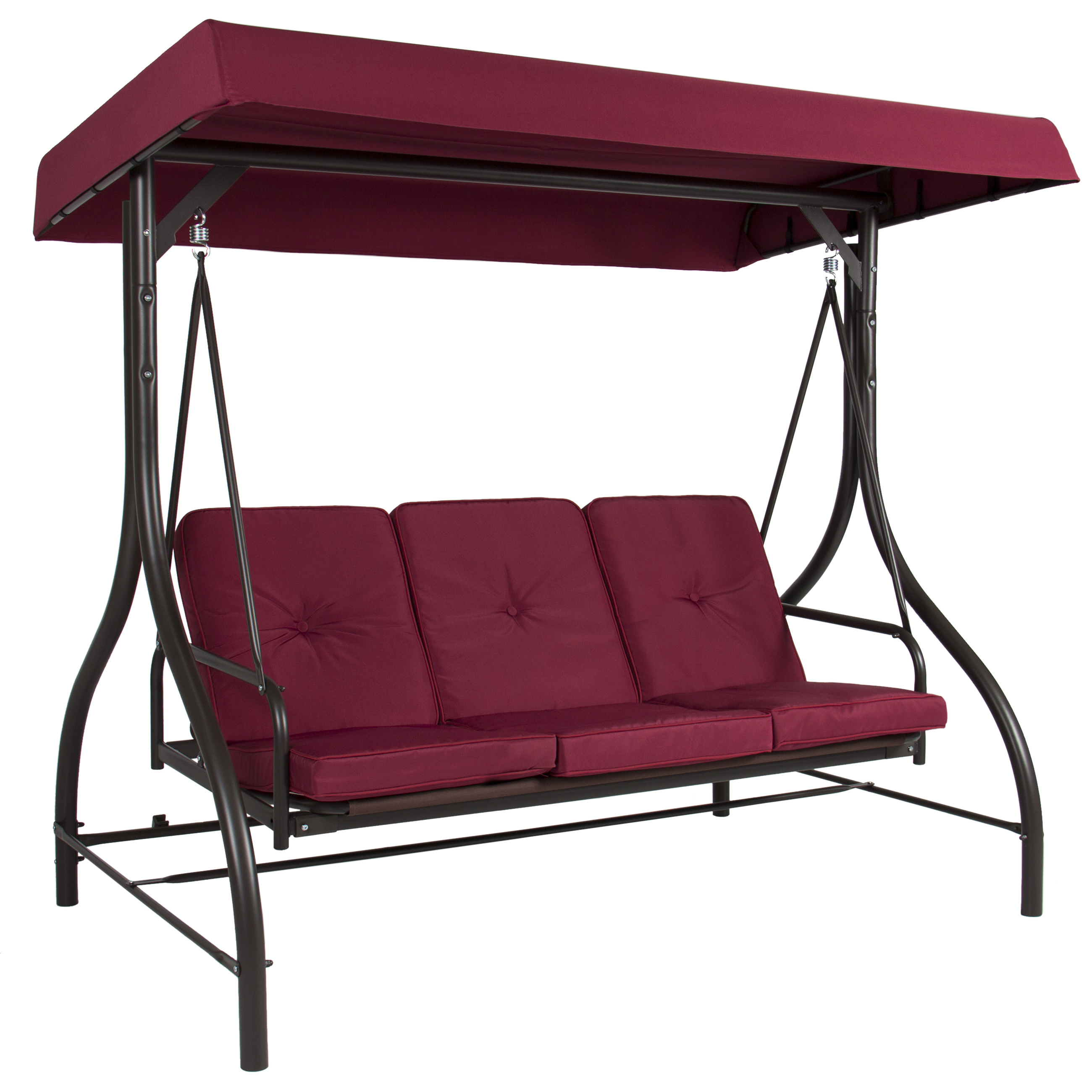 Converting Outdoor Swing Canopy Hammock Seats 3 Patio Deck Furniture  Burgundy   Walmart.com