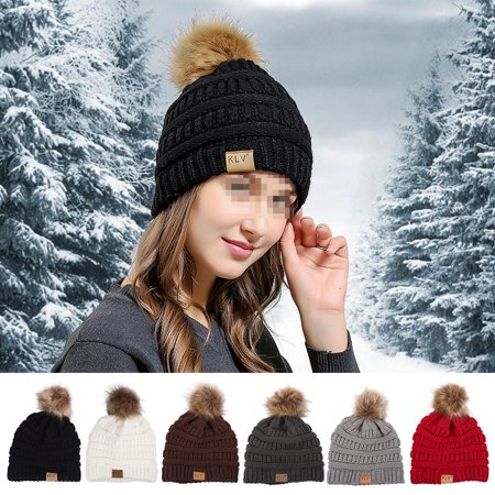 Dilwe 6 Colors Fashionable Knitted Cap Faux Raccoon Fur Pompom Winter Hat For Keeping Warm,Pompom Hat, Women - Raccoon Skin Hat