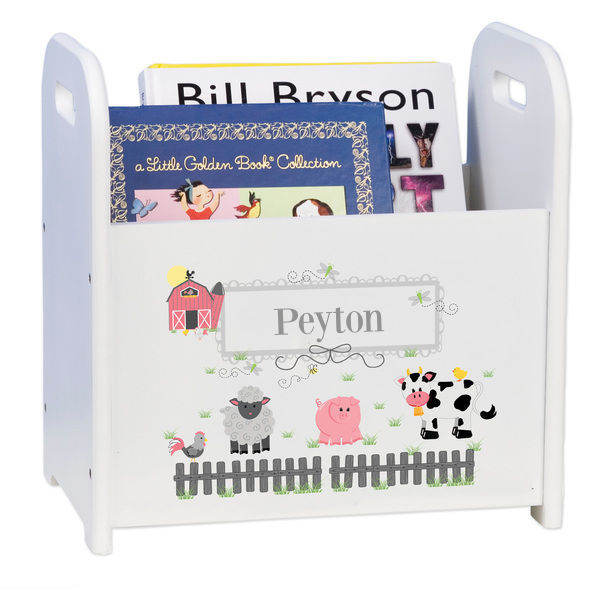 Personalized Barnyard Friends White Book Caddy and Rack