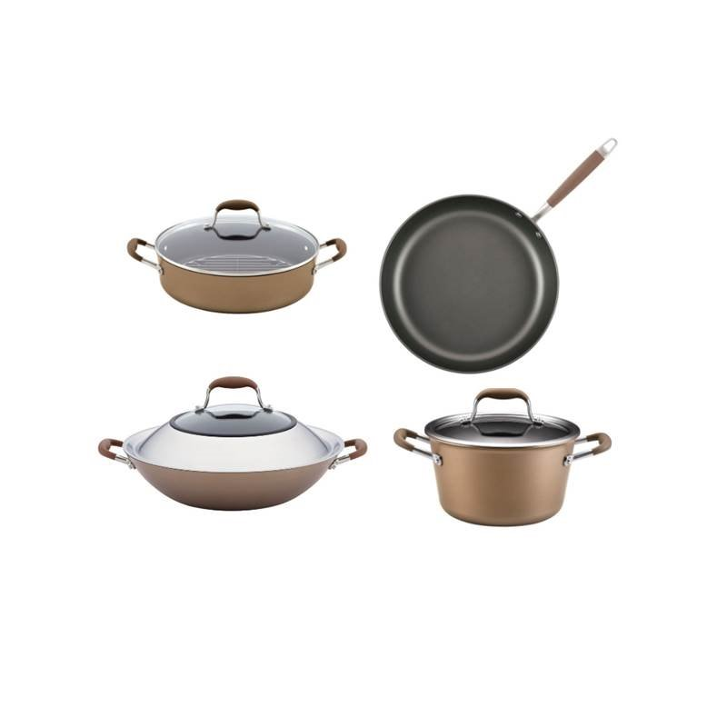 4 Piece Nonstick Cookware Set with Wok, Stock Pot, Braiser, and Frying Pan in Bronze by