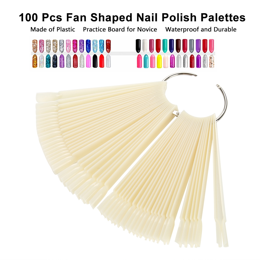 Yosoo Polish Practice Stick,100 Pcs Fan Shaped Nail Polish Palettes Color Display Card Nail Practice Tools,Nail Polish Palette
