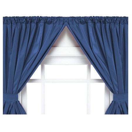 Navy Double Swag Vinyl Bathroom Window Curtain w/ Tie Backs: 36