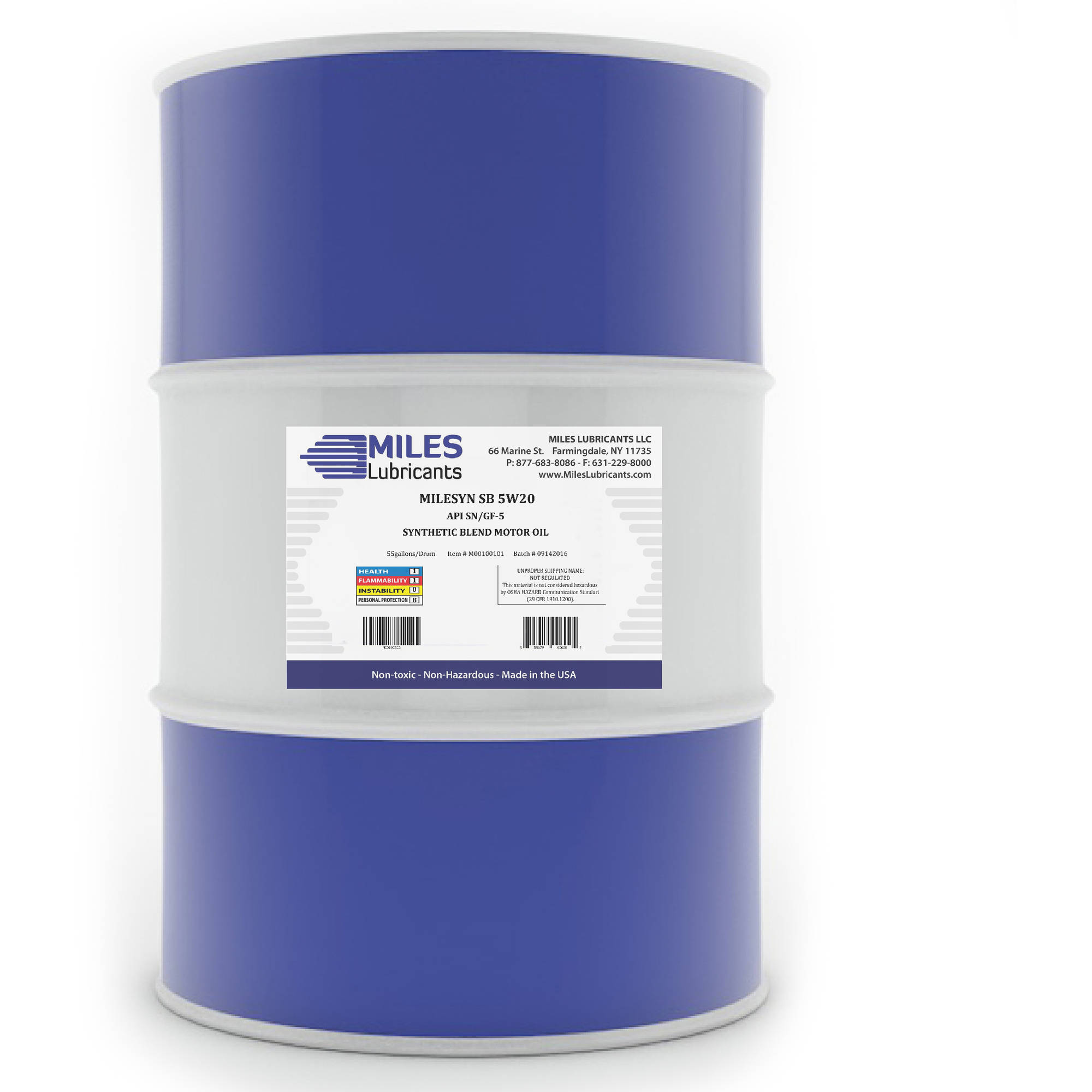 Milesyn SB 5W20 API GF-5/SN, Synthetic Blend Motor Oil, 55-Gallon Drum