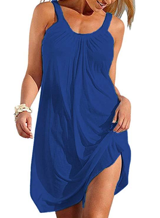 Women's Summer Halter Sleeveless Pleated Beach Short Mini Dresses Cover Ups
