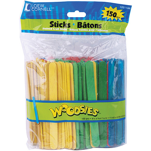 "Woodsies Craft Sticks, 4.5"", 150-Pack"