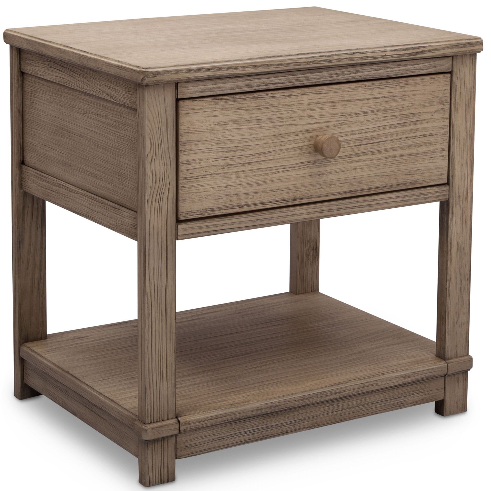 Delta Children Harvest Farmhouse Nightstand with Drawer and Shelf, Rustic Whitewash