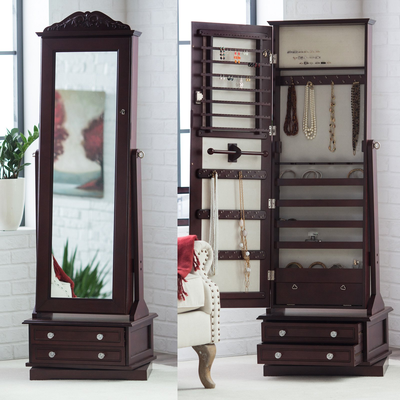 Belham Living Swivel Cheval Mirror Jewelry Armoire Walmartcom
