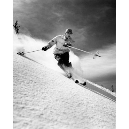 Low angle view of a young man skiing downhill Canvas Art - (18 x 24)