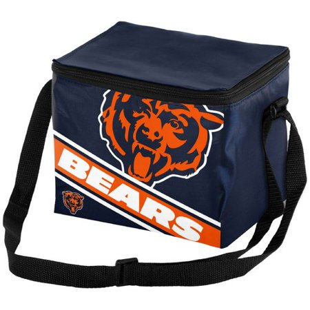 Forever Collectibles Big Logo Stripe 6 Pack Cooler, Chicago Bears