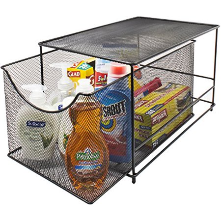 Sorbus Cabinet Organizer Drawers  Mesh Storage Organizer With Pull Out Drawers Ideal For Countertop  Cabinet  Pantry  Under The Sink  Desktop And More  Black Bottom Drawer