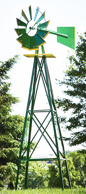 STKUSA 8ft Metal Windmill Weather Rust Resistant Wind Mill, Green