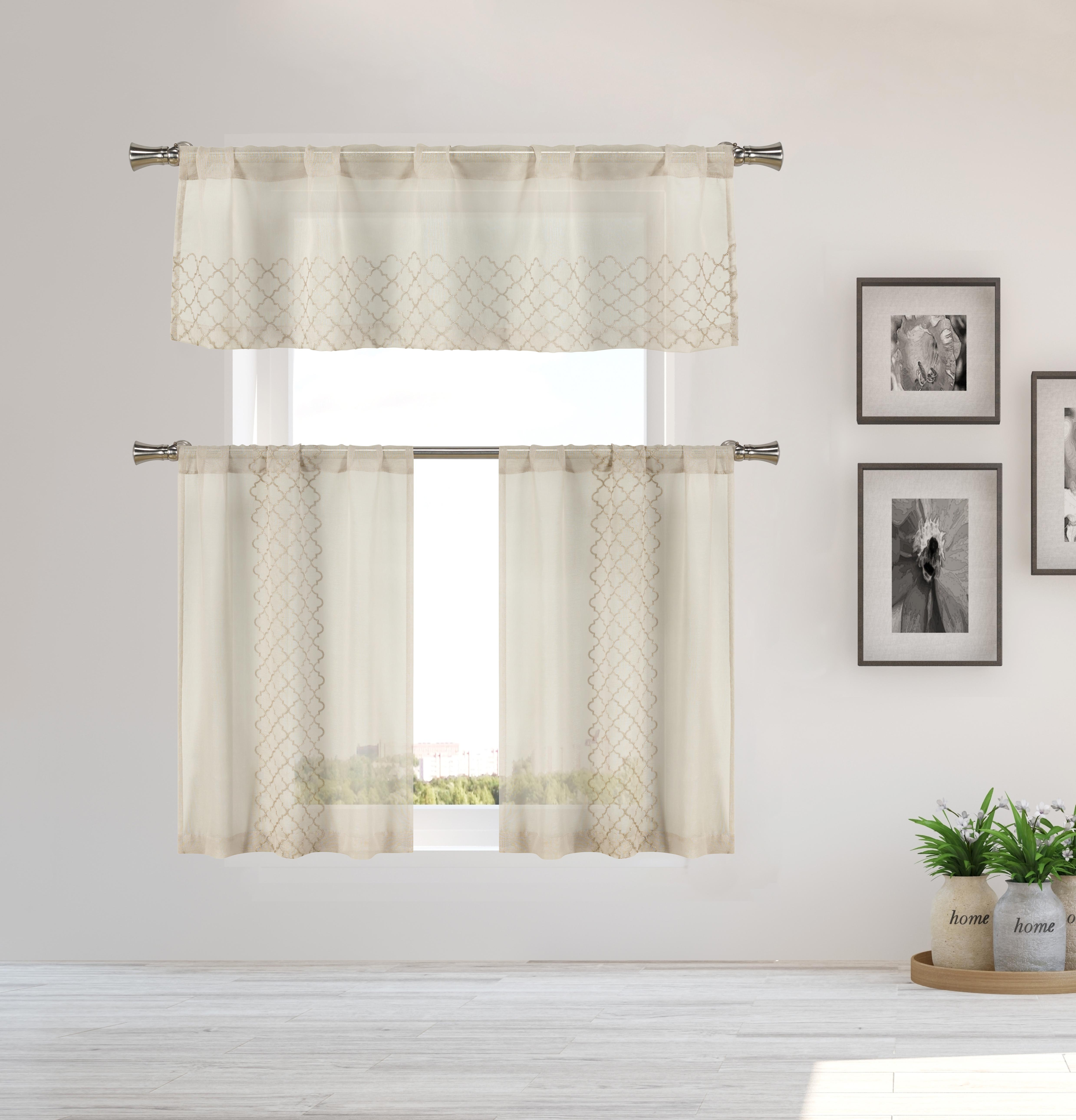 Geometric Moroccan Printed Short Farmhouse Kitchen Cafe Tier Curtains Short Curtains For Bathroom Brown Taupe Caromio Sheer Kitchen Tier Curtains 24 Inch Length Home Kitchen Tiers