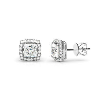 925 Sterling Silver Princess Cut CZ Cubic Zirconia Halo Earrings
