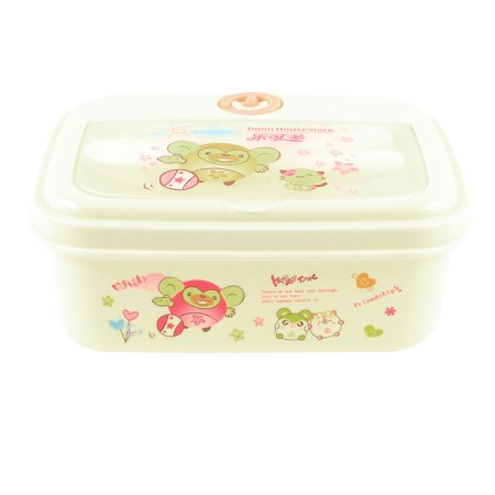 Unique Bargains Students Cartoon Pattern Food Holder Container Lunch Box Off White w Spoon Fork