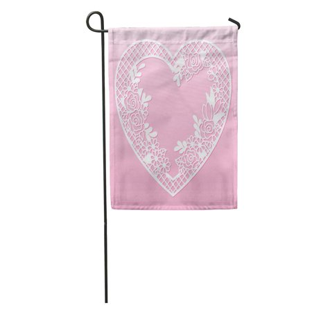 SIDONKU Openwork Floral in The Shape of Heart Laser Cutting Garden Flag Decorative Flag House Banner 12x18 inch