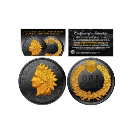 BLACK RUTHENIUM INDIAN HEAD CENT PENNY Coin 24K Gold Highlights 2-Sided with