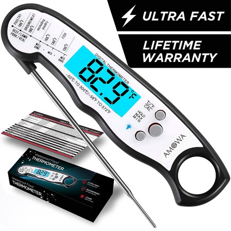 Meat Thermometer - Best Waterproof Ultra Fast Thermometer with Backlight & Calibration. Kizen Digital Food Thermometer for Kitchen, Outdoor Cooking, BBQ, and (Best Meat Thermometer For Smoking)