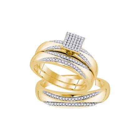 10K Yellow Gold 0 33Ctw Shiny Diamond Center Square Micro Pave Trio Set Ring