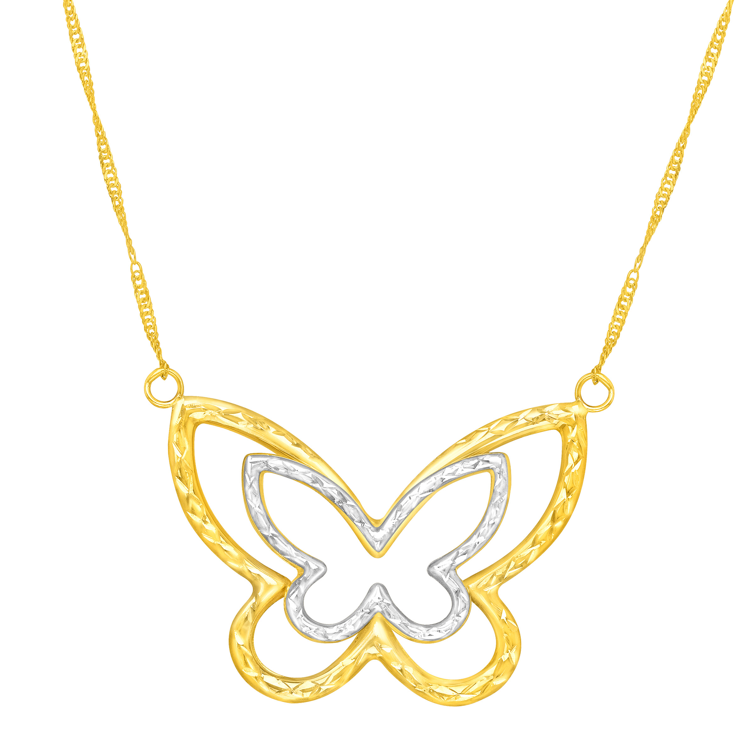 Richline Simply Gold Butterfly Necklace in 14kt Two-Tone Gold