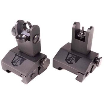 flip up backup battle sights by ozark armament picatinny mount ar pattern flat-top upper co-witness iron sights